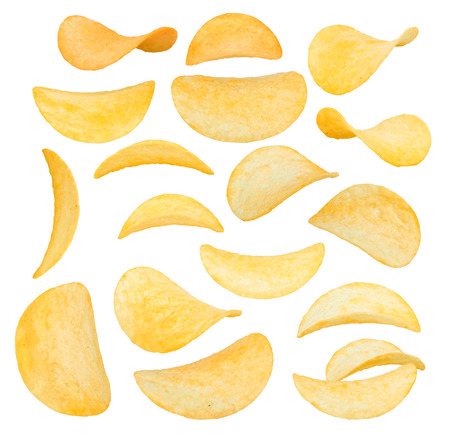 potato chips close-up isolated on a white background