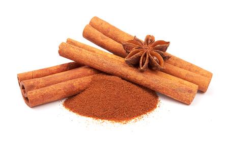 Cinnamon sticks and powder on white background  Stock Photo