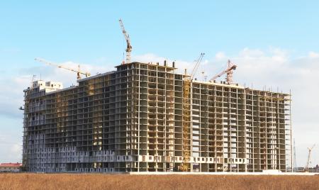 bouwplaats met kraan en de bouw Stockfoto
