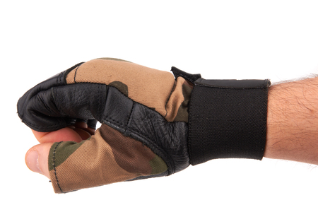 wrist strap: leather gym gloves with wrist strap on white background