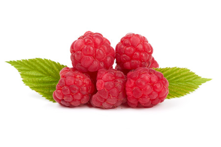 raspberries with leaf isolated on a white