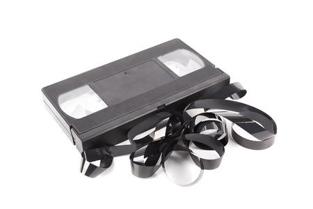 videocassette: Cinta VHS aislado en un blanco Foto de archivo