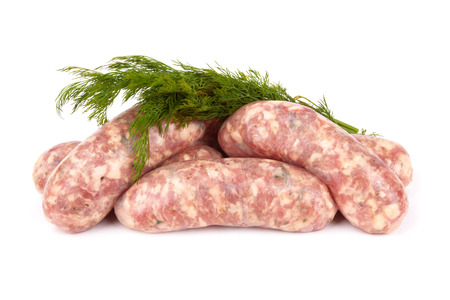 llonganissa: pile of pork meat  on a white background