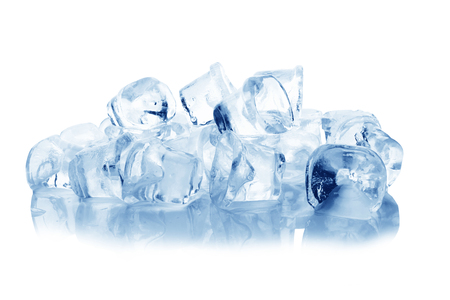refrigerate: Ice cubes isolated on a white background