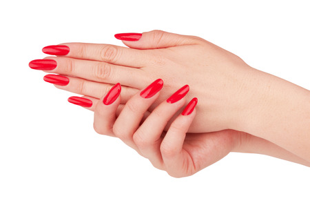 Hand with nail red manicure isolated on white background