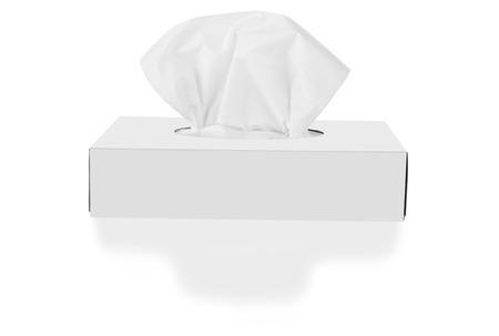 facial tissue: Tissue box isolated on a white background