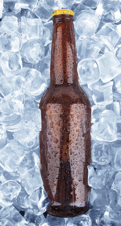 taphouse: cold bottle of beer frozen in ice