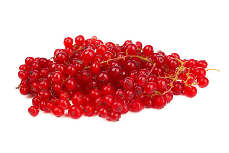 bacca: pile berries of red currant  isolated on white background
