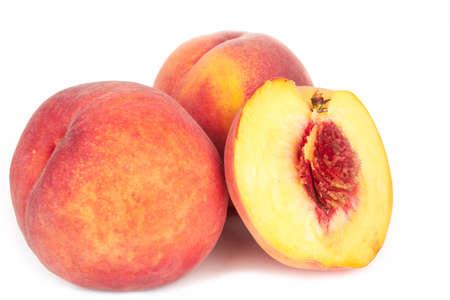 velvety: Ripe peach fruit isolated on white background