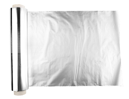 foil roll: close up of an aluminum foil on white background
