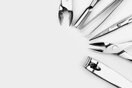 Tools of a manicure set on a white  Stock Photo