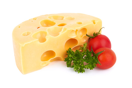 Piece of cheese isolated on white background  photo