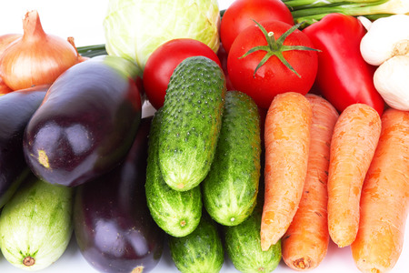 different vegetables on a white background photo