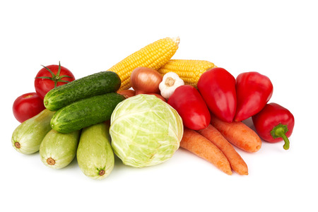 different kinds of vegetables on a white background  photo