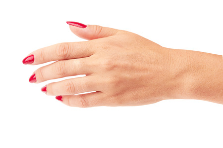 pocket pc: Hand with red manicure isolated on a white background Stock Photo