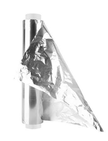 close up of an aluminum foil on white background photo