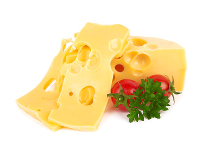 cheez: Piece of cheese isolated on white background Stock Photo