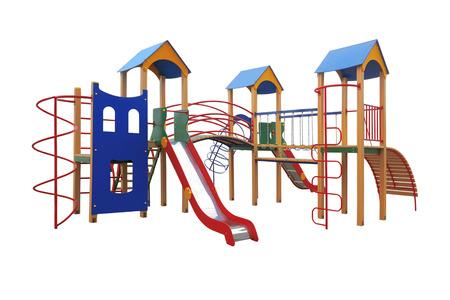 jardin de infantes: Patio colorido para los niños aislados en fondo blanco