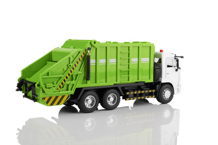dump truck: Garbage truck toy isolated on a white background