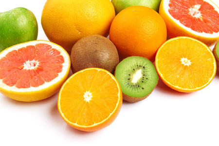 nonfat: fresh various fruits on white background Stock Photo