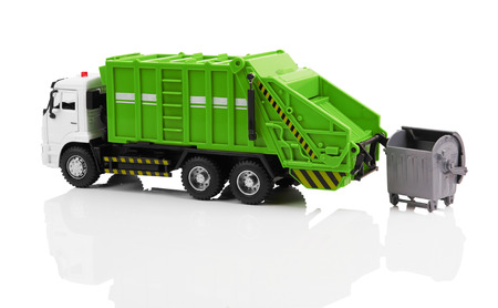 dumptruck: Garbage truck toy isolated on a white background
