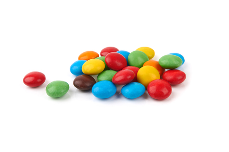 s and m: colorful chocolate buttons on a white background