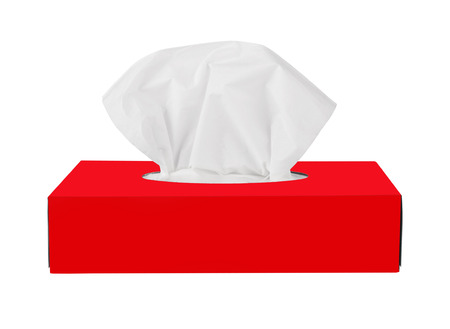 facial tissue: Red tissue box isolated on a white background Stock Photo