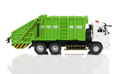 dumptruck: TOY garbage truck toy isolated on a white background