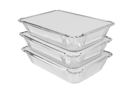 food preparation: Foil trays for food on a white background