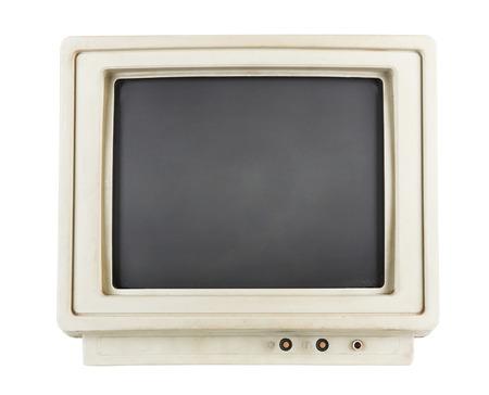 television antigua: monitor de ordenador antiguo aislado en el fondo blanco