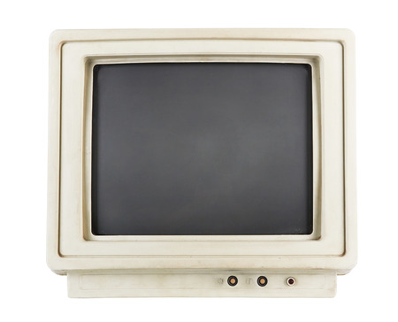 old computer monitor isolated on white background