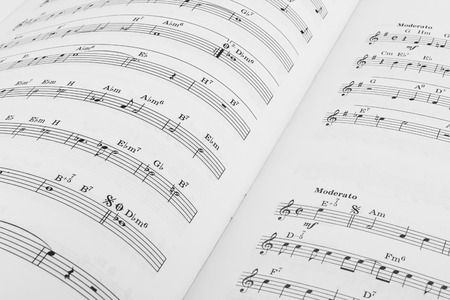musical score: Musical notes on a white score sheet