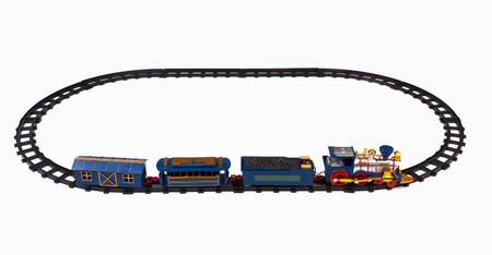 Toy train isolated on a white background photo