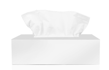 sniffle: Tissue box isolated on a white background
