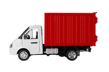 panel van: Toy red truck isolated on a white background