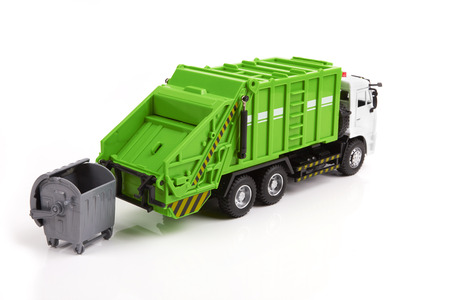 dumptruck: garbage truck toy isolated on a white background Stock Photo