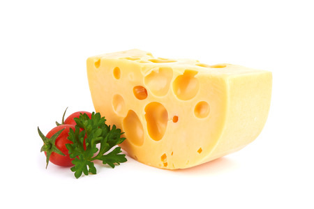 grated cheese: Piece of cheese isolated on white background Stock Photo