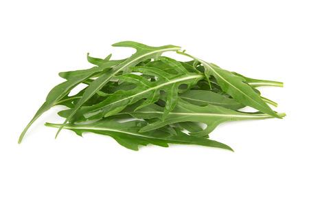 rukola: Green arugula leaves isolated on white background