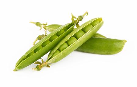 pea pod: Fresh green pea pod on white background