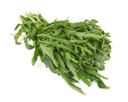rocket lettuce: Bunch of fresh arugula on a white background Stock Photo