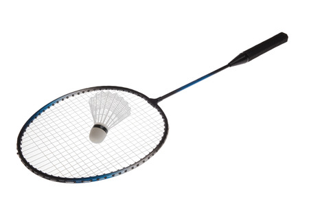 badminton: Badminton racket and shuttlecock isolated on white background