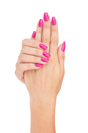 Hands with nail red manicure isolated on white background