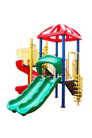 jardin de infantes: Patio colorido para los ni�os. Aislado en blanco