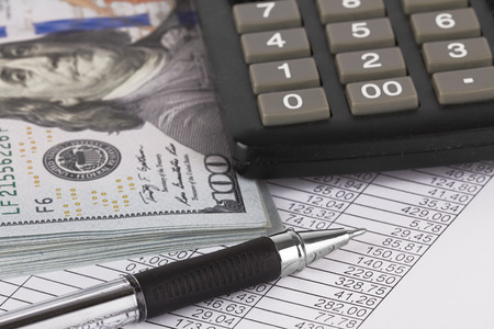Form with pen calculator and money close up Stock Photo