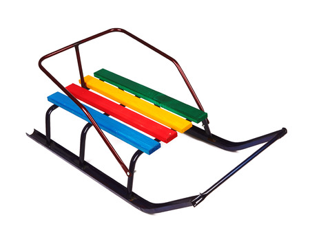 luge: Child winter sled isolated on a white background