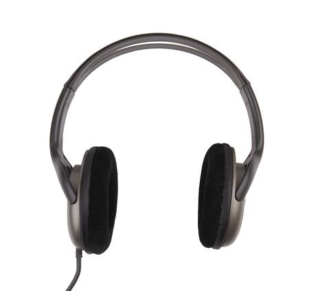 audifonos: Auriculares aislados negro sobre fondo blanco