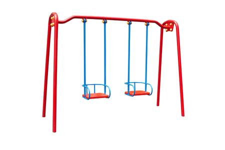 swing set: childs swing isolated on a white background
