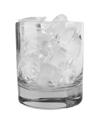 drunks: Glass with ice cubes isolated on white background