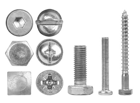 iron nail: Screws and heads isolated on white background Stock Photo