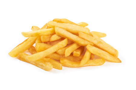 fatty food: pile of french fries on a white background Stock Photo